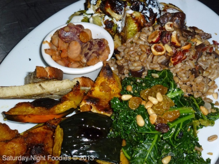 FARMERS MARKET VEGETABLE PLATTER - Roasted Carrots with Chili Honey & Rosemary, Farro Salad with Arugula, Cranberries & Hazelnuts, Roasted Brussels Sprouts with Garlic Parm Dressing and Roasted Cauliflower with Parmesan & Lemon
