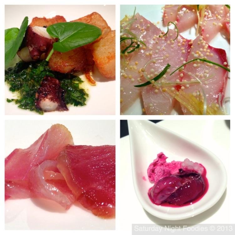 "Canary Island Octopus, Kanpachi, Ahi & ""Bloody"" Oyster (Beet Juice)"