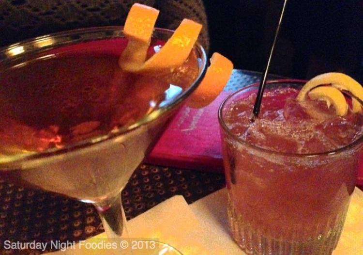 Highlander (Scotch, Sweet Vermouth & Orange Bitters) & Roaring Twenties (Rum, Ginger Liqueur, Grenadine and Lemon)