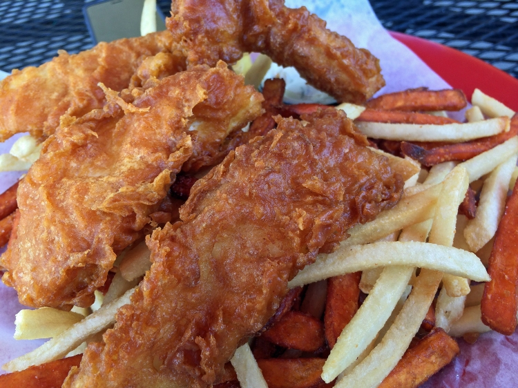 Halibut Fish & Chips with Sweet Potato Fries