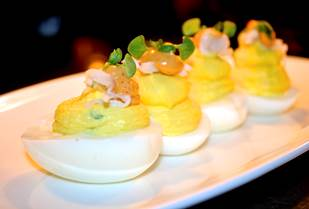 Lark Creek's Deviled Eggs with Dungeness crab and chipotle aioli Photo Credit: Richard Robert